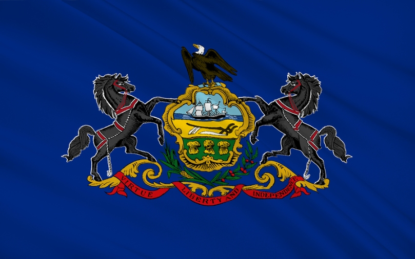 The national flag of State of Pennsylvania Harrisburg - United States