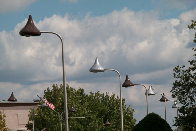 Street lights shaped like chocolate kisses in the town of Hershey Pennsylvania