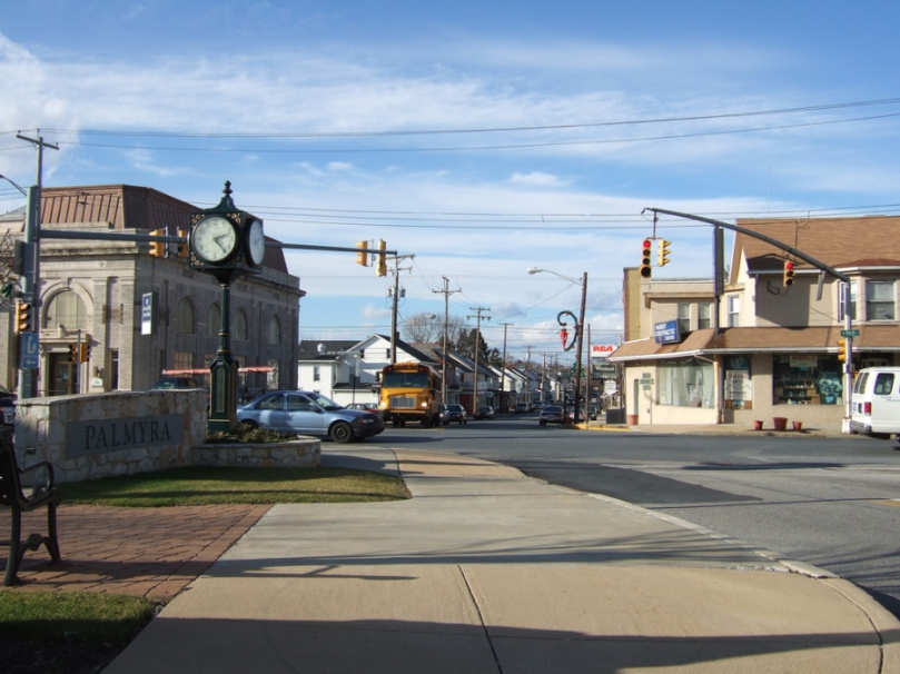 Photo of downtown Palmyra, PA showing square, taken by Jayu on January 8, 2007 for use on Wikipedia